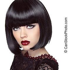 Black short bob hairstyle. Fashion brunette girl model with make