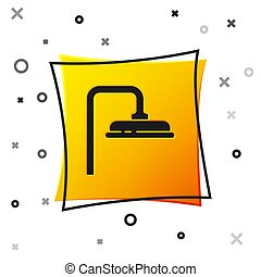 Black Shower head with water drops flowing icon isolated on white background. Yellow square button. Vector Illustration