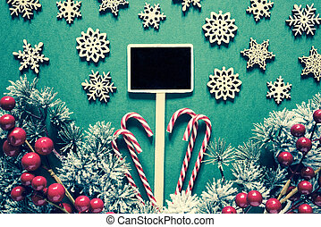 Black Sign With Christmas Decoration, Frosty, Retro Look
