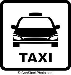 black sign with taxi car on white background