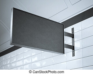 Black signboard on a wall . 3d rendering