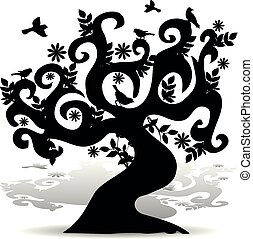 Black Silhouette abstract tree with birds, element for design on white background,