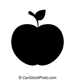 black silhouette apple with stem and leafs