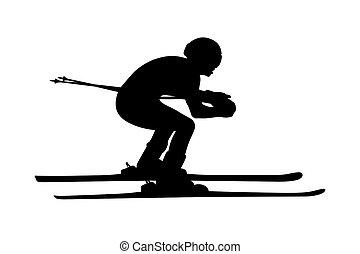black silhouette athlete skier
