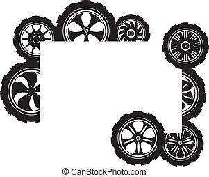 black , silhouette:, automobiel, wiel