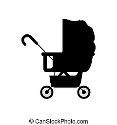 black silhouette baby carriage with layette