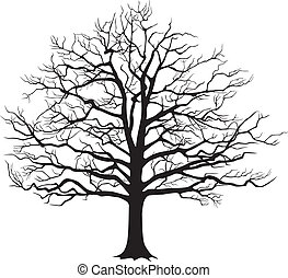 Black silhouette bare tree . Vector illustration - Black...