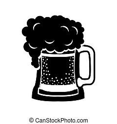 black silhouette beer mug drink