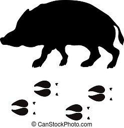 Black silhouette boar wild animal zoo vector.