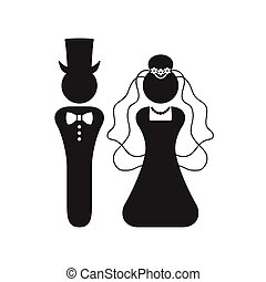 Black silhouette Bride and Groom wedding sign and symbol icon on white background