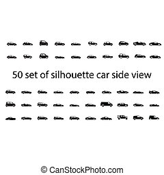 Black silhouette car side view isolated