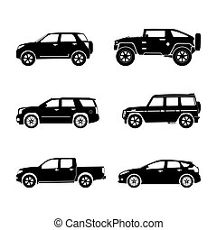 Black silhouette cars on white background