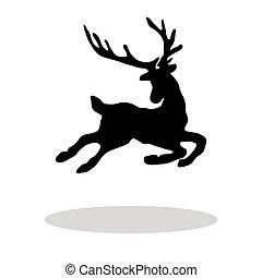 Black silhouette Christmas Reindeer white background