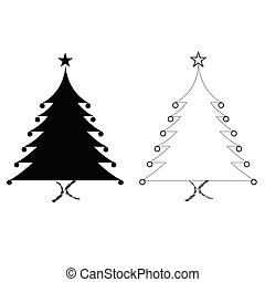 black silhouette Christmas trees vector set