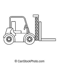black silhouette contour forklift truck with forks