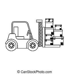 black silhouette contour forklift truck with forks with boxes