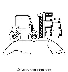 black silhouette contour forklift truck with forks with boxes over the planet