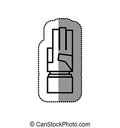 black silhouette contour sticker with hand pointing up three fingers