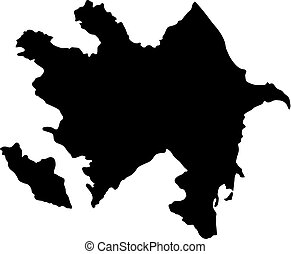 black silhouette country borders map of Azerbaijan on white background of vector illustration