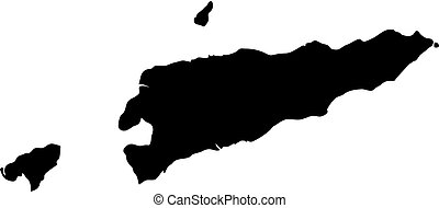 black silhouette country borders map of East Timor on white background of vector illustration