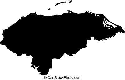 black silhouette country borders map of Honduras on white...