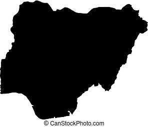 black silhouette country borders map of Nigeria on white background of vector illustration
