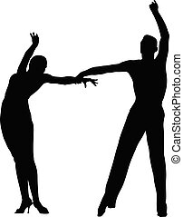 black silhouette couple of dancers