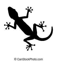 Black silhouette creeping of lizard on white background. Vector Illustration