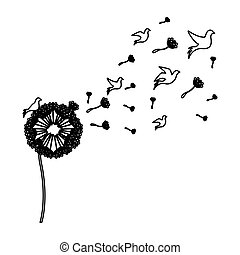 black silhouette dandelion with fly birds