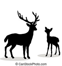 Black silhouette Deer and Fawn white background. Vector ...