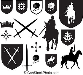 Black silhouette designs, and icons for use in old vintage...
