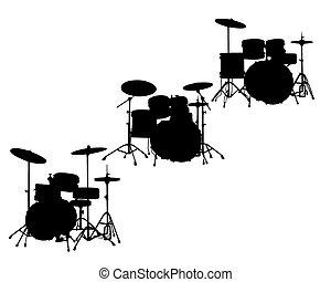 drum-type installations - Black silhouette drum-type ...