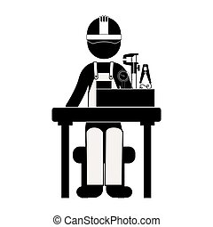 black silhouette engineer sitting with measuring elements