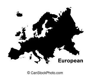black silhouette european map on white background