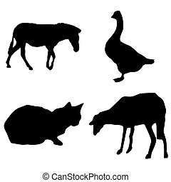 black silhouette farm animals vector set - horse, goose, sheep, cat
