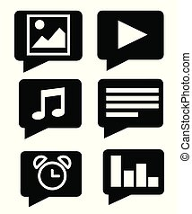 Black silhouette. Flat mobile app icon set. Vector illustration isolated on white background