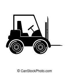 black silhouette forklift truck with forks