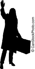 Black silhouette girl with a suitcase on a white background.