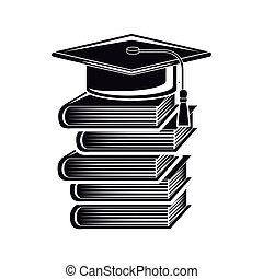 black silhouette graduation cap with stacked books