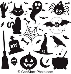 Black silhouette Halloween vector elements icons set