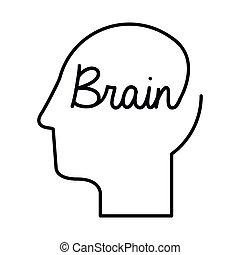black silhouette head with word brain