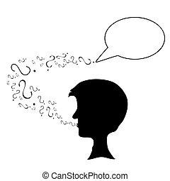 Black silhouette head,question mark - Vector art in Adobe...