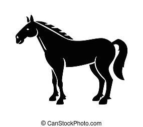 black , silhouette, horse.