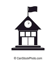 black silhouette house with flag and clock