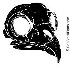 black silhouette Illustration of bird skull Vector