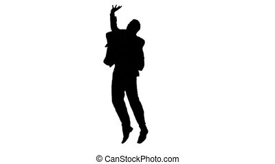 Black silhouette in slow motion standing upright against a white background