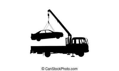 Black Silhouette, loading car into truck animation.