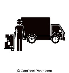 black silhouette logistic assistant with shipping truck