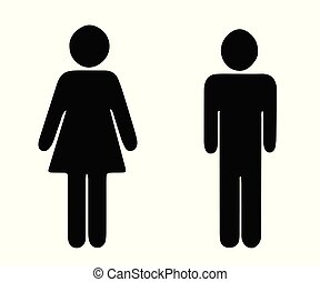 black silhouette man and woman vector - wc toilet icons