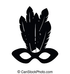 black silhouette mardi gras mask with feathers